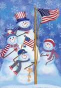 Click to enlarge image Patriotic Snowmen #257 - Garden Flag Patriotic -