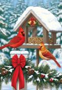 Click to enlarge image Cardinals Christmas Feast #201 - Garden Flag Christmas -