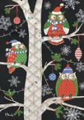 Click to enlarge image Holiday Owls #258 - Garden Flag Christmas -