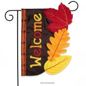Click to enlarge image Fall Leaves Applique #737 - Garden Flags Fall -