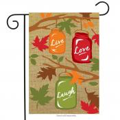 Click to enlarge image Fall Mason Jars Burlap #563 - Garden Flags Fall -