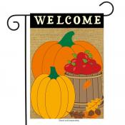 Click to enlarge image Welcome Harvest Burlap #725 - Garden Flags Fall -